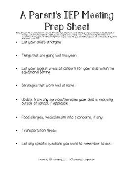 A Parent's IEP Meeting Prep Sheet