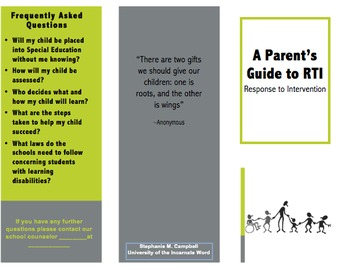 A Parent's Guide to RTI-- Brochure