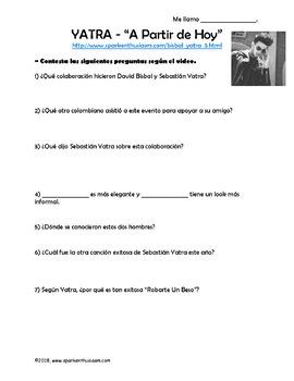 A Partir de Hoy - Spanish Song Lyrics & Activities - Bisbal & Yatra