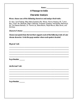 A Passage to India - Character Analysis Activity - E.M. Forster