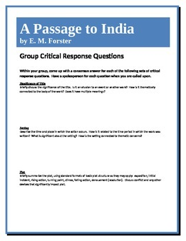 A Passage to India - Forster - Group Critical Response Questions