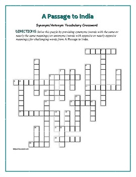 A Passage to India: Synonym/Antonym Crossword—Use with Bookmarks Plus!