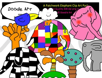 A Patchwork Elephant Clipart Pack