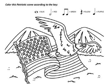 A Patriotic Scene Coloy-by-Note, Grades 1-2