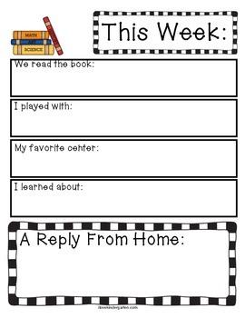 A Peek At My Week Weekly Kindergarten Writing Home/School Connection