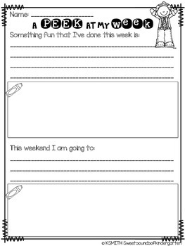 A Peek at my Week! Student Share Sheets