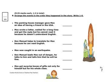 A Pen Pal for Max - Reading Quiz, Puzzle, Vocab sheets and more BUNDLE