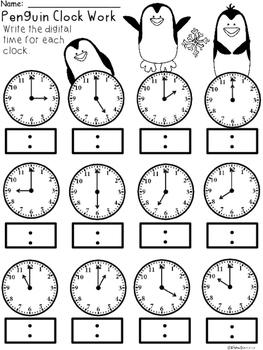 A+ Penguin Analog Clock & Digital Clock Work (Hour & Half Hour)