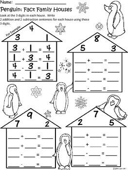 A+ Penguin: Fact Family Houses