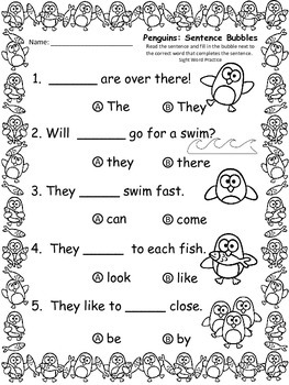 A+ Penguins: Fill In the Blank.Multiple Choice Sight Word Sentences