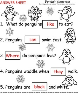 A+ Penguin Sentences: Fill In The Blank