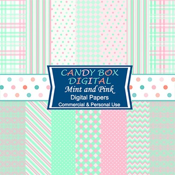 Mint and Pink Digital Background Papers