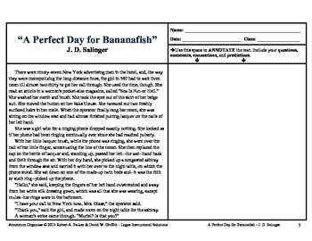 """PERFECT DAY FOR BANANAFISH"" by J.D. SALINGER: Annotation Organizer"