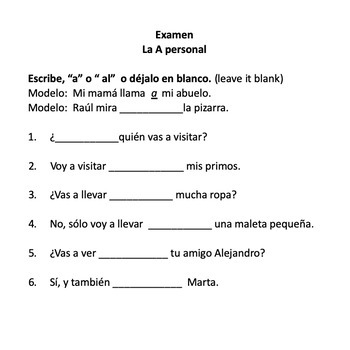 Spanish A Personal Activities and TPR Story