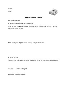 A Persuasive Writing Lesson: Letter to the Editor