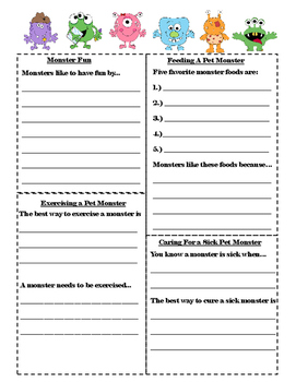 A Pet Monster  Manual Writing Activity