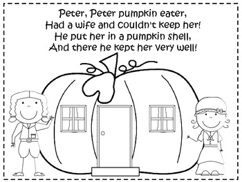 A+ Peter, Peter Pumpkin Eater Poster And Coloring Sheet
