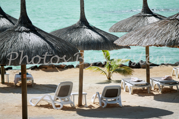 A Stock Photo of Beach and Beach Umbrellas