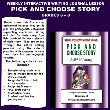 Interactive Weekly Writing Notebook Lesson - A Pick and Choose Story-CC Aligned