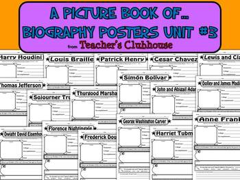 A Picture Book of...Biography Posters Unit #3 from Teacher's Clubhouse