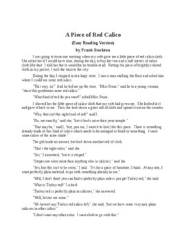 A Piece of Read Calico - Easy Reading Version - Frank Stockton