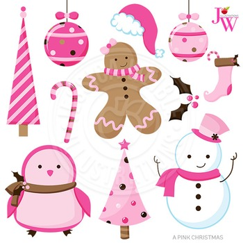 A Pink Christmas Cute Digital Clipart, Pink Christmas Graphics