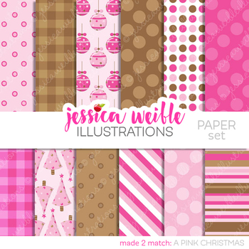 A Pink Christmas Matching Digital Papers, Christmas Papers, Winter