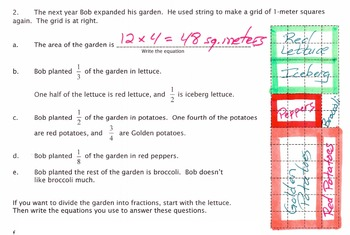 A Pizza Garden:  Word Problems with Fractional Multiplication & Division