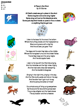 A Place In The Choir (Lyric Sheet with Chords and Icons)