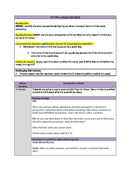 A Place for Grace Read Aloud or Guided Reading Plans (3 Days)