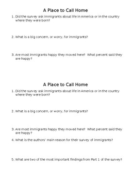 A Place to Call Home Mini-Quiz
