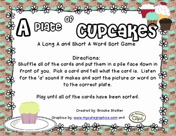 A Plate of Cupcakes - A Long A and Short A Picture and Wor