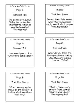 A Plump and Perky Turkey Interactive Read Aloud Sticky Note Questions