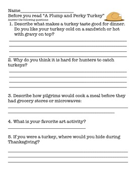 A Plump and Perky Turkey - Comp, Vocabulary and More