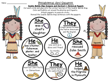 A+ Pocahontas And Squanto Double Bubble With Sentences,Puppets & Graph