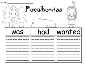 A+ Pocahontas: Graphic Organizers
