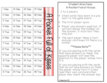 True False Comprehension Game A Pocket Full of Kisses by Audrey Penn