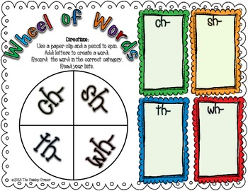 A Pocket Full of Word Work: Digraphs ch,sh, th, wh