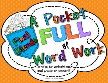 A Pocket Full of Word Work: {Final Blends}