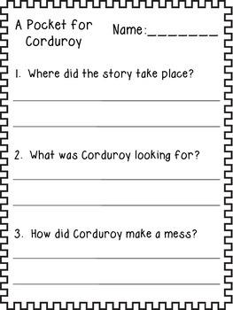 A Pocket for Corduroy Questions {FREEBIE}