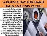 A Poem a Day For Hard Times Analysis Packet