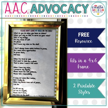 A Poem Advocating for Consistent AAC Access (fits in a 4X6 frame)