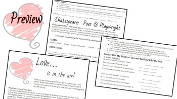 A CCSS Poetic Valentine's Day:  A no-prep lesson on Shakespeare for high school