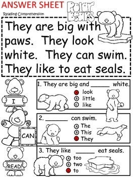 A+ Polar Bear  Comprehension: Differentiated Instruction For Guided Reading