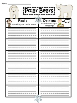 A+ Polar Bear Fact And Opinion Chart...Graphic Organizer