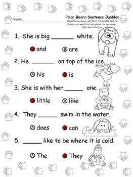 A+ Polar Bear: Fill In the Blank.Multiple Choice Sight Word Sentences