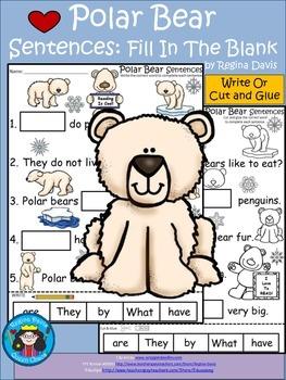 A+ Polar Bear Sentences: Fill In The Blank