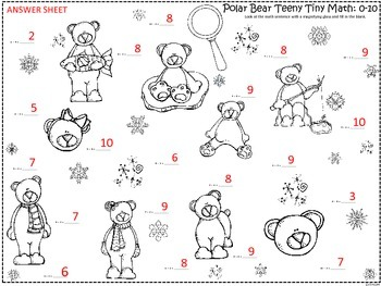 A+  Polar Bear Teeny Tiny Math: I Spy  Addition & Subtraction