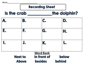 A Position Words Practice Small or Whole Group Activity for Literacy and Math
