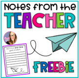 A Positive Note from the Teacher FREEBIE